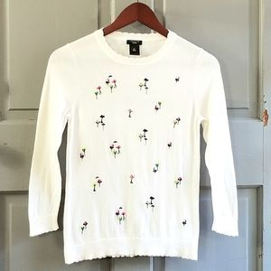 Ann Taylor Floral Scalloped Beaded Sweater
